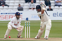 Paul Stirling in batting action for Middlesex as James Foster looks on from behind the stumps during Essex CCC vs Middlesex CCC, Specsavers County Championship Division 1 Cricket at The Cloudfm County Ground on 29th June 2017