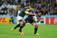 07 October 2015: Joe Taufete'e of USA tries to force his way past Willie le Roux of South Africa during Match 31 of the Rugby World Cup 2015 between South Africa and USA - Queen Elizabeth Olympic Park, London, England (Photo by Rob Munro/CSM)