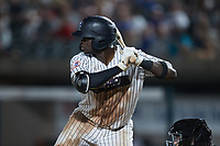 Michael Beltre (34) of the Somerset Patriots at bat against the Altoona Curve at TD Bank Ballpark on July 24, 2021, in Somerset NJ. (Brian Westerholt/Four Seam Images)