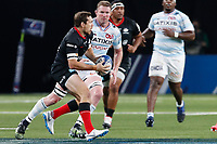 26th September 2020, Paris La Défense Arena, Paris, France; Champions Cup rugby semi-final, Racing 92 versus Saracens; Goode (Saracens) passes away before contact from Ryan (Racing 92)