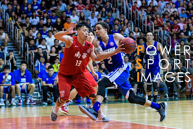 Marcus Ryan Elliott #2 of Eastern Long Lions (R) in action against Chan Cheung Man #13 of SCAA Men's Basketball Team (L) during the Final of Hong Kong Basketball League 2018 match between SCAA v Eastern Long Lions on August 10, 2018 in Hong Kong, Hong Kong. Photo by Marcio Rodrigo Machado/Power Sport Images
