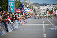 peloton sprinting to the finish line<br /> <br /> Tour of Turkey 2014<br /> stage 5