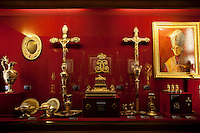 "Cabinet of relics and other objects associated with the cathedral and the coronation of the French kings, le Musée de l'Œuvre, Palais du Tau, Reims, France, 10 November 2015. In the centre may be seen the Sainte-Ampoule, or ""holy flask"" which was made in 1822 to contain the holy oil with which new kings were anointed during coronation ceremonies."