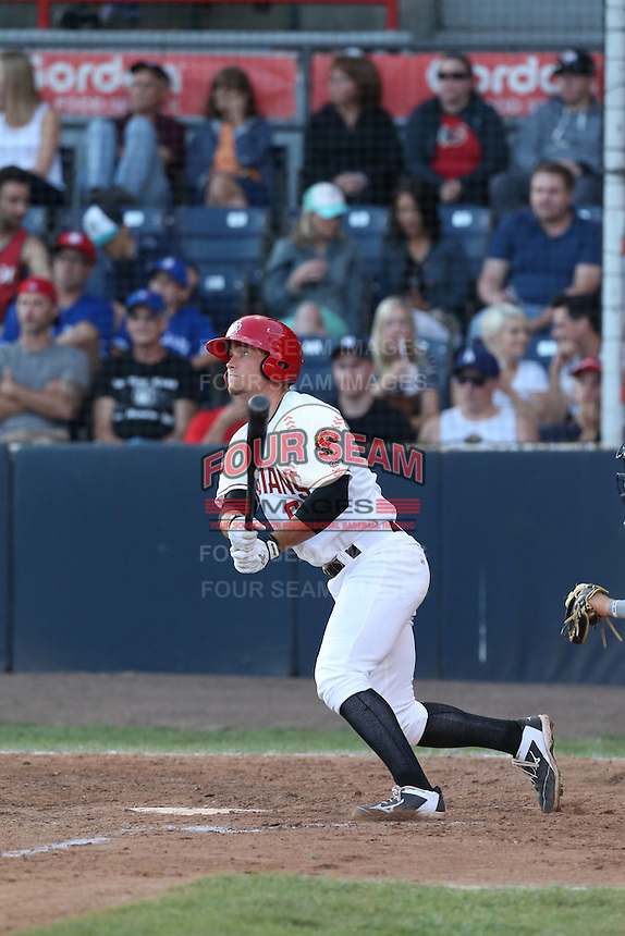 Carl Wise (6) of the Vancouver Canadians bats during a game against the Tri-City Dust Devils at Nat Bailey Stadium on July 23, 2015 in Vancouver, British Columbia. Tri-City defeated Vancouver, 6-4. (Larry Goren/Four Seam Images)