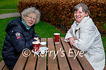 Enjoying a coffee and a chat in the Listowel town park on Saturday, l to r: Pauline Hayes and Bridget Moran.