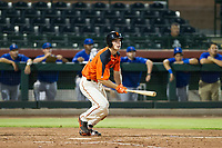 AZL Giants third baseman Jacob Gonzalez (52) follows through on his swing against the AZL Cubs on September 5, 2017 at Scottsdale Stadium in Scottsdale, Arizona. AZL Cubs defeated the AZL Giants 10-4 to take a 1-0 lead in the Arizona League Championship Series. (Zachary Lucy/Four Seam Images)