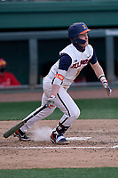 Third baseman Jackson Raper (14) of the Illinois Fighting Illini bats in a game against the Ohio State Buckeyes on Friday, March 5, 2021, at Fluor Field at the West End in Greenville, South Carolina. (Tom Priddy/Four Seam Images)