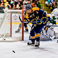 26 January 2019: Merrimack College Warrior Defenseman Alex Carle, a Senior from Anchorage, Alaska, in second period action against the University of Vermont Catamounts at Gutterson Fieldhouse in Burlington, Vermont. The Warriors fell to the Catamounts 4-3 in overtime after tying up the game in the dyeing seconds of the third period of their America East conference game. Mandatory Credit: Ed Wolfstein Photo *** RAW (NEF) Image File Available ***