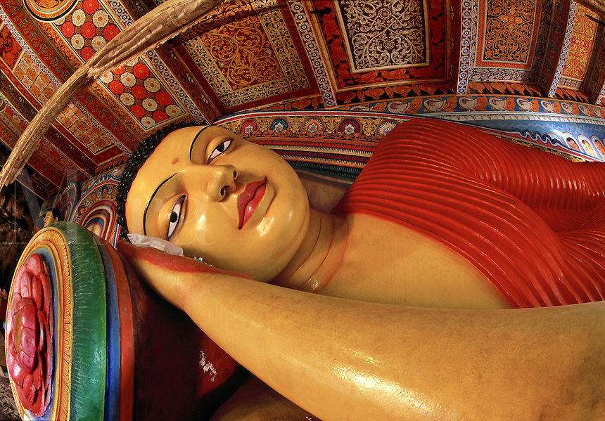Reclining Buddha Isurumuniya Rock Temple Anuradhapura Sri Lanka.