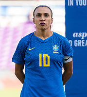 ORLANDO, FL - FEBRUARY 24: Marta #10 of Brazil stands during her national anthem before a game between Brazil and Canada at Exploria Stadium on February 24, 2021 in Orlando, Florida.