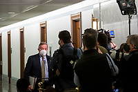 United States Senator Dick Durbin (Democrat of Illinois) stops to talk with reporters as he arrives for Merrick Garland's Senate Committee on the Judiciary confirmation hearing to be Attorney General, Department of Justice, in the Hart Senate Office Building in Washington, DC, Monday, February 22, 2021. Credit: Rod Lamkey / CNP /MediaPunch