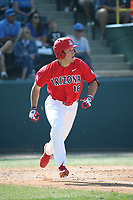 Mitchell Morimoto (16) of the Arizona Wildcats runs to first base during a game against the UCLA Bruins at Jackie Robinson Stadium on March 19, 2017 in Los Angeles, California. UCLA defeated Arizona, 8-7. (Larry Goren/Four Seam Images)