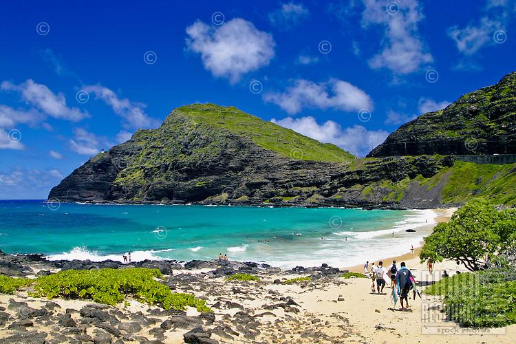 Beautiful Makapuu Beach and beach park,located along Oahu's east coast is one of Oahu's more scenic beaches.