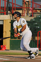 Burlington Bees Webster Rivas (14) swings during the Midwest League game against the Peoria Chiefs at Community Field on June 9, 2016 in Burlington, Iowa.  Peoria won 6-4.  (Dennis Hubbard/Four Seam Images)