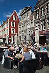 Belgium, Oost Vlaanderen, Ghent: Cafe along the Graslei
