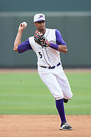 Winston-Salem Dash shortstop Johan Cruz (5) makes a throw to first base against the Carolina Mudcats at BB&T Ballpark on May 21, 2017 in Winston-Salem, North Carolina.  The Mudcats defeated the Dash 3-0 in 10 innings.  (Brian Westerholt/Four Seam Images)