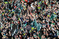 Leicester Tigers fans celebrate a try during the LV= Cup Final match between Leicester Tigers and Northampton Saints at Sixways Stadium, Worcester on Sunday 18 March 2012 (Photo by Rob Munro, Fotosports International)