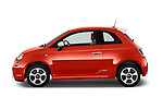 Car Driver side profile view of a 2014 Fiat 500e 3 Door Hatchback Side View