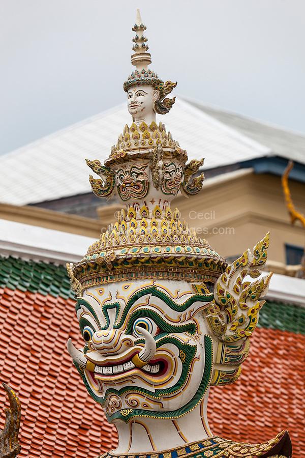 Bangkok, Thailand.  Demon Guardian (Yaksha) in the Royal Grand Palace Grounds.