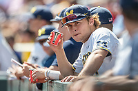 Michigan Wolverines pitcher Willie Weiss (20) before Game 11 of the NCAA College World Series against the Texas Tech Red Raiders on June 21, 2019 at TD Ameritrade Park in Omaha, Nebraska. Michigan defeated Texas Tech 15-3 and is headed to the CWS Finals. (Andrew Woolley/Four Seam Images)