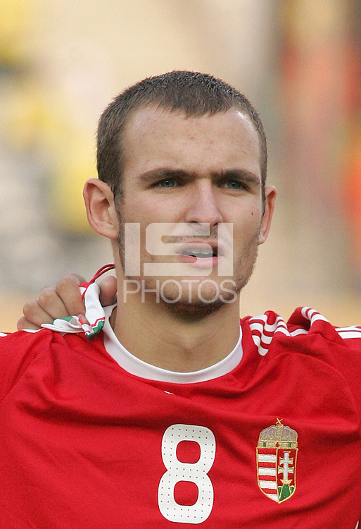 Hungary's Andras Simon (8) stands on the field before the game against Ghana at the FIFA Under 20 World Cup Semi-final match at the Cairo International Stadium in Cairo, Egypt, on October 13, 2009. Costa Rica won the match 1-2 in overtime play. Ghana won the match 3-2.