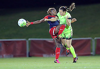 Boyds, MD - Wednesday Sept. 07, 2016: Estefania Banini, Kendall Fletcher during a regular season National Women's Soccer League (NWSL) match between the Washington Spirit and the Seattle Reign FC at Maureen Hendricks Field, Maryland SoccerPlex.