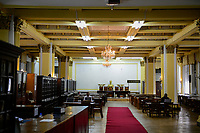 ETHIOPIA , Addis Ababa, , old palace of emperor Haile Selassie, today ethnographical museum of Institute for ethiopian studies, University of Addis Abeba, former audience hall, today library
