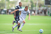 LAKE BUENA VISTA, FL - JULY 9: Alejandro Bedoya #11 of the Philadelphia Union dribbles the ball during a game between New York City FC and Philadelphia Union at Wide World of Sports on July 9, 2020 in Lake Buena Vista, Florida.