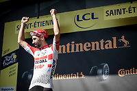 Thomas de Gendt (BEL/Lotto-Soudal) was the first one to break away at km0 and is the first one across the finish in Saint-Étienne<br /> <br /> Stage 8: Mâcon to Saint-Étienne (200km)<br /> 106th Tour de France 2019 (2.UWT)<br /> <br /> ©kramon