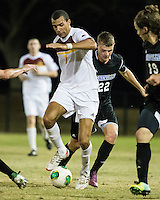 The Winthrop University Eagles beat the UNC Asheville Bulldogs 4-0 to clinch a spot in the Big South Championship tournament.  Achille Obougou (7), Hans Lohmeyer (22)
