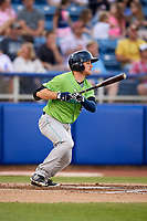 Lynchburg Hillcats right fielder Trenton Brooks (13) follows through on a swing during a game against the Salem Red Sox on May 10, 2018 at Haley Toyota Field in Salem, Virginia.  Lynchburg defeated Salem 11-5.  (Mike Janes/Four Seam Images)