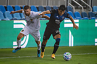 SAN JOSE, CA - SEPTEMBER 13: Nick Lima #24 of the San Jose Earthquakes evades Perry Kitchen #2 of the LA Galaxy during a game between Los Angeles Galaxy and San Jose Earthquakes at Earthquakes Stadium on September 13, 2020 in San Jose, California.