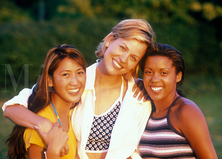 Smiling female friends.