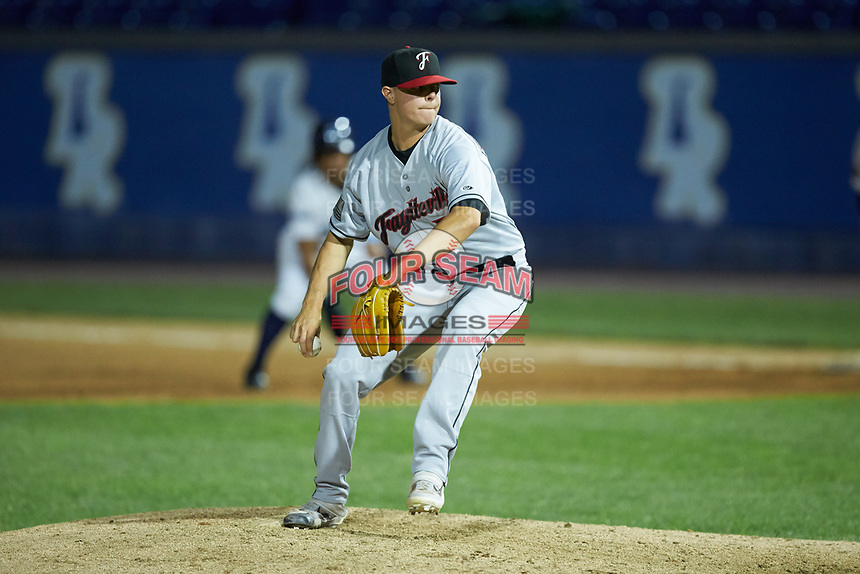 Fayetteville Woodpeckers relief pitcher Jacob Billingsley (48) in action against the Wilmington Blue Rocks at Frawley Stadium on June 6, 2019 in Wilmington, Delaware. The Woodpeckers defeated the Blue Rocks 8-1. (Brian Westerholt/Four Seam Images)