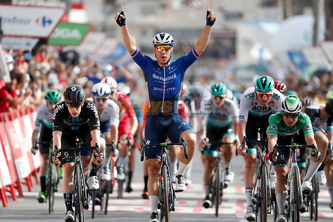 Fabio Jakobsen (NED) Deceuninck-Quick Step wins Stage 8 of La Vuelta d'Espana 2021, running 173.7km from Santa Pola to La Manga del Mar Menor, Spain. 21st August 2021.     <br /> Picture: Luis Angel Gomez/Photogomezsport   Cyclefile<br /> <br /> All photos usage must carry mandatory copyright credit (© Cyclefile   Luis Angel Gomez/Photogomezsport)