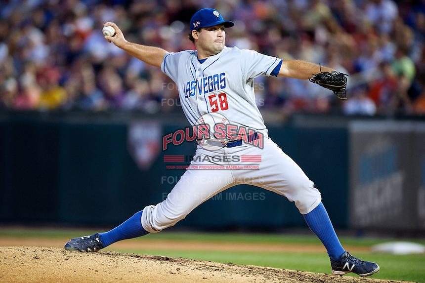 Las Vegas 51s pitcher Chad Beck #58 during the Triple-A All-Star game featuring the Pacific Coast League and International League top players at Coca-Cola Field on July 11, 2012 in Buffalo, New York.  PCL defeated the IL 3-0.  (Mike Janes/Four Seam Images)