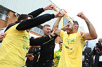 1st May 2021; Carrow Road, Norwich, Norfolk, England, English Football League Championship Football, Norwich versus Reading; Onel Hernandez of Norwich City celebrates with fans and team mates after winning the EFL championship