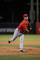 AZL Angels relief pitcher Kiber Arvelaez (31) follows through on his delivery during an Arizona League game against the AZL Indians 2 at Tempe Diablo Stadium on June 30, 2018 in Tempe, Arizona. The AZL Indians 2 defeated the AZL Angels by a score of 13-8. (Zachary Lucy/Four Seam Images)