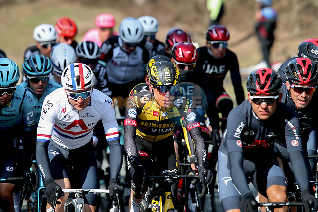 The peloton including Steven Kruijswijk (NED) Jumbo-Visma  during Stage 2 of Paris-Nice 2021, running 188km from Oinville-sur-Montcient to Amilly, France. 8th March 2021.<br /> Picture: ASO/Fabien Boukla | Cyclefile<br /> <br /> All photos usage must carry mandatory copyright credit (© Cyclefile | ASO/Fabien Boukla)