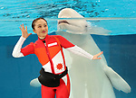 "April 26, 2017, Yokohama, Japan - Kanako Momota, a member of Japanese girls only pop group ""Momoiro Clover Z"" (MCZ) performs with a white beluga at the aquarium of the Hakkeijima Sea Paradise in Yokohama, suburban Tokyo on Wednesday, April 26, 2017. The aquarium will start the new attraction with sea aninals featuring a MCZ's TV program for children from April 28.   (Photo by Yoshio Tsunoda/AFLO) LwX -ytd-"