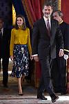 King Felipe VI of Spain (r) and Queen Letizia of Spain receive Palestinian President Mahmoud Abbas. May 24 ,2017. (ALTERPHOTOS/Pool)