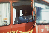 Pix: Barry Wilkinson/SWpix.com. The Yorkshire Ripper Archive. The Peter Sutcliffe Archive 14th May 1979 - 11th May1980...COPYRIGHT PICTURE>>SIMON WILKINSON>>0870 092 0092>>..Yorkshire Ripper 1981..Peter Sutcliffe pictured in his lorry cab at work Clarke Engineering