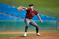 Garrett Horn (3) of Robert B Glenn HS in Kernersville, NC playing for the Arizona Diamondbacks scout team during the East Coast Pro Showcase at the Hoover Met Complex on August 5, 2020 in Hoover, AL. (Brian Westerholt/Four Seam Images)