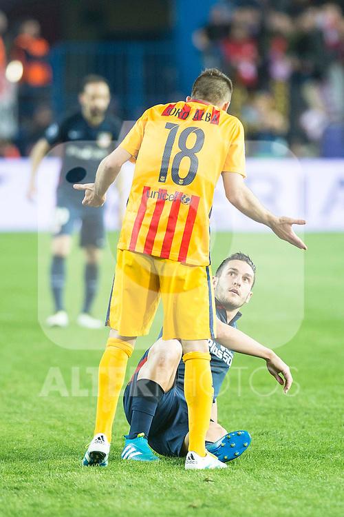 Atletico de Madrid's Koke and FC Barcelona Jordi Alba during Champions League 2015/2016 Quarter-Finals 2nd leg match. April 13, 2016. (ALTERPHOTOS/BorjaB.Hojas)