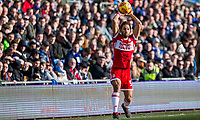 Ryan Shotton of Middlesbrough takes a throw during the Sky Bet Championship match between Cardiff City and Middlesbrough at the Cardiff City Stadium, Cardiff, Wales on 17 February 2018. Photo by Mark Hawkins / PRiME Media Images.