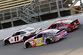 #11: Denny Hamlin, Joe Gibbs Racing, Toyota Camry FedEx Ground #18: Kyle Busch, Joe Gibbs Racing, Toyota Camry M&M's Fudge Brownie and #4: Kevin Harvick, Stewart-Haas Racing, Ford Mustang Busch Light Apple