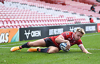 30th August 2020; Kingsholm Stadium, Gloucester, Gloucestershire, England; English Premiership Rugby, Gloucester versus Leicester Tigers; Ollie Thorley of Gloucester scores his third try
