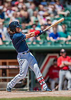 31 May 2018: New Hampshire Fisher Cats infielder Bo Bichette hits a solo home run to open the scoring in the first inning against the Portland Sea Dogs at Northeast Delta Dental Stadium in Manchester, NH. The Sea Dogs defeated the Fisher Cats 12-9 in extra innings. Mandatory Credit: Ed Wolfstein Photo *** RAW (NEF) Image File Available ***