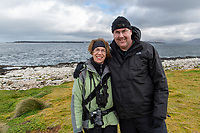 Elyn and Michael Stubblefield on Enderby Island in the Aukland Islands, New Zealand.