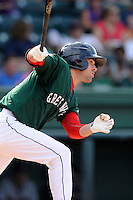 Right fielder Cole Sturgeon (35) of the Greenville Drive bats in a game against the Rome Braves on Sunday, August 3, 2014, at Fluor Field at the West End in Greenville, South Carolina. Sturgeon is a tenth-round pick of the Boston Red Sox in the 2014 First-Year Player Draft out of the University of Louisville. Rome won, 4-2. (Tom Priddy/Four Seam Images)